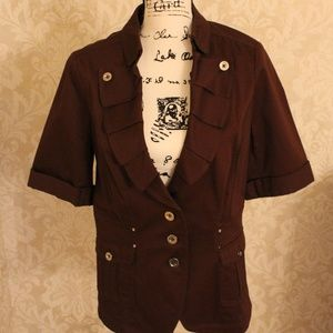 Womens WHBM Size 14 Brown Capris Jacket Suit NWT